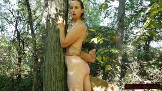 She Cums So Much Tied To Tree: Hairy Slut Loves Rubs, Titslaps, Spanks, Even Cums From Being Untied!
