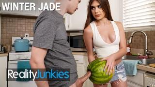 Screen Capture of Video Titled: Reality Junkies - Kinky Step sister Winter Jade walks in on Step bro and his Huge Cock