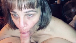 Mature cougar wife love's sucking cock and love's swallowing cum