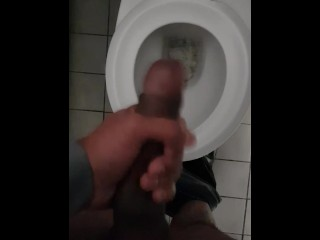 He has a cheeky wank at work with his big dick with cum load –  nearly caught masturbating