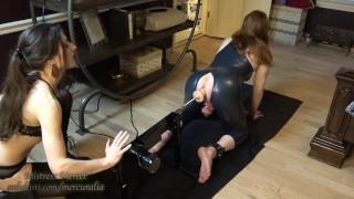 Mistress Mercer Fuckmachine and Throat Training Time for Latex Sissy Chastity Slut