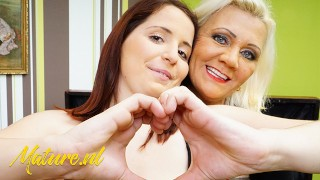 Mature Lesbian Seduces Straight Girl into Eating her Hairy Pussy