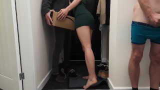 Delivery guy knocked on the door as I fucked my wife and I let him fuck her while I watch. Creampie