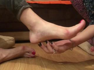 Barefoot Tickling Long Nails Close Up Trailer