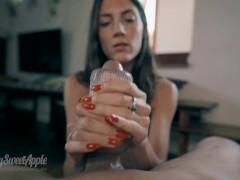 The Handjob of his Life with Pornhub's new Stroker - I swallow his big cumshot