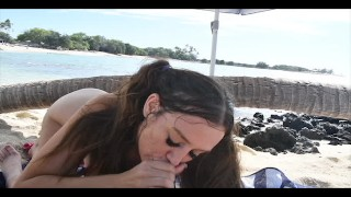 Madison Marie beach blowjob