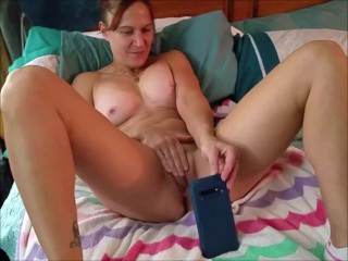 Sexy milf masturbates and cums multiple times on video chat with her young bull