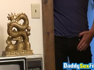Bearded daddy Brandon Moore sucked big cock and ass drilled