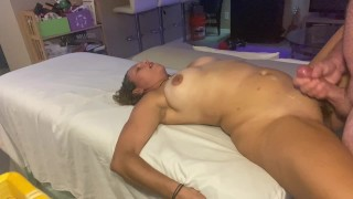 Fucking my babes hairy pussy and making her cum on my dick with cumshot on stomach
