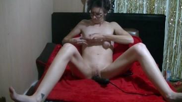 Masturbation with breast play