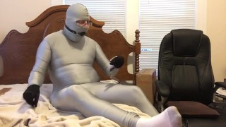 Spank, gag, & handcuff self bondage to bed wearing spandex suit **100th subscriber