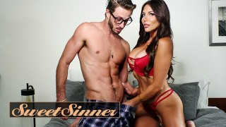 Screen Capture of Video Titled: Sweet Sinner - Horny Step Mother Jaclyn Taylor Fucks Her New Step Son While there On Family Holidays