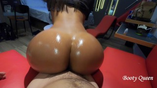 Booty Queen big ass bouncing on my dick and twerking reverse cowgirl. Pov. Oiled bubble butt teen