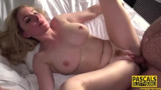 Fingered busty submissive blonde throats