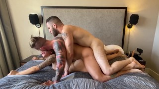 Hot Bisexual MMF Threesome - Everyone Gets Fucked - with April Olsen and Wolf Hudson