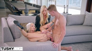 Screen Capture of Video Titled: TUSHY Elsa enjoys anal with Kayden's boy-toy as she watches