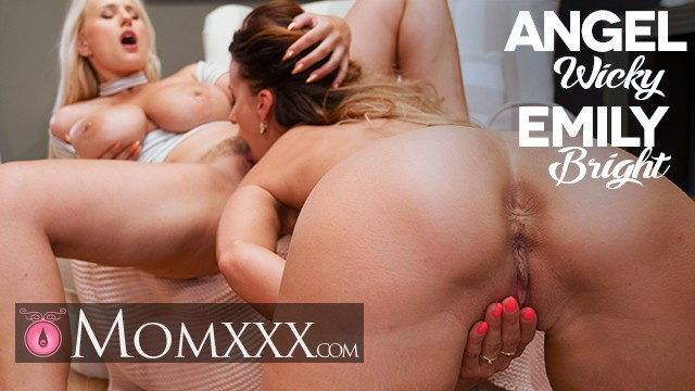 MOMxxx Huge natural tits MILF Angel Wicky passionate lesbian pussy eating with Emily Bright