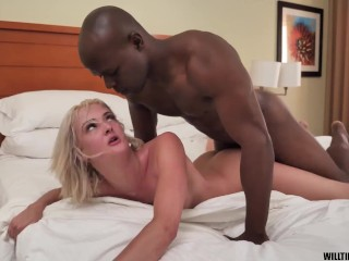 Skinny blonde has intense fucking from monster cock