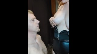 Lactating MILF Mistress laughs at chastity slave while squirting breast milk on him