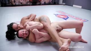 Dominating Mixed Wrestling Match As Miss Demeanor Beats Fluffy Then Fucks His Ass With Strapon