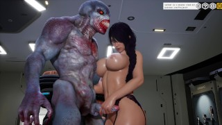 Girls and Ugly Halloween Monster [3D Hentai, 4K, 60FPS, Uncensored]