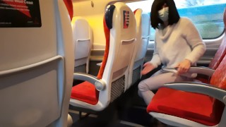 Public dick flash in the train ended up with risky handjob and blowjob from a stranger. Got caught.