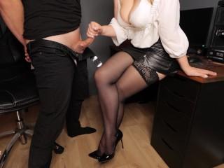 Secretary in stockings handjob to boss and cum on her feet