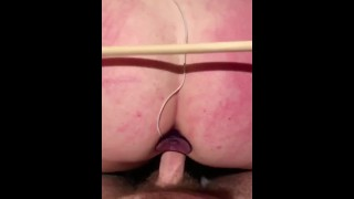 Sex Slave gets caned and fuck at the same time