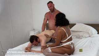 couple dominates a guy and fucks his ass hard