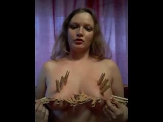 Clothes pegs on tits (tit tourture)