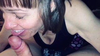 Granny loves sucking my cock & swallowing cum. Shows off her prize at the end