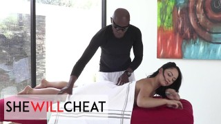 She Will Cheat - Sexy Brunette Kristina Rose Jumps On Her Masseur's BBC