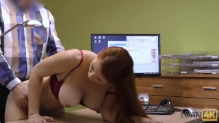 LOAN4K. Loan agent gets access to beautiful pussy of poor redhead