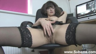 Busty Secretary in Stockings Shows Her Hairy Pussy