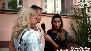BERLIN STREET CASTING - German Couple pick up and try swinger club