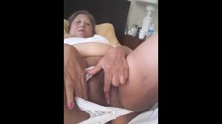 Mature Latina woman masturbating with a dildo because I need a man to fuck me