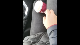 Step mom helps out step son cum in 20 seconds in the car