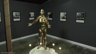 Golden Heist - Caroline Pierce & Star Nine Wet & Messy Body Painting Statue Fetish TRAILER