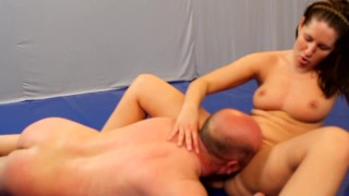 she wrestle him down to lick her pussy