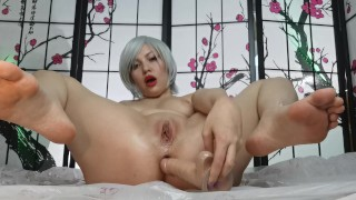 Anime girl fingering her holes with toys