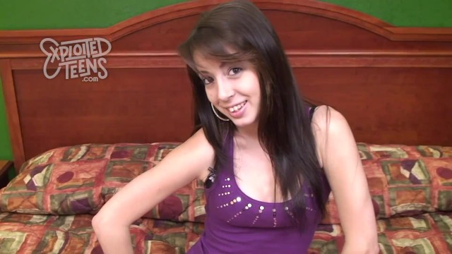 Tiny fresh faced brunette teen stars in this amateur video