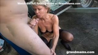 Wrinkled Granny Gets a HUGE Load of Cum