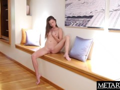 Stunning brunette model gets naked and masturbates to an orgasm