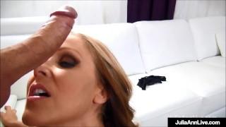 Big Breasted Cougar Julia Ann Sucks & Strokes A Hard Dick!