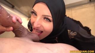 Muslim stepsister in hijab sucks cock, fucks and swallows cum of stepbrother