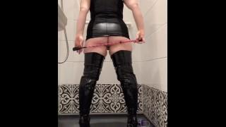 BDSM slut tries new boots