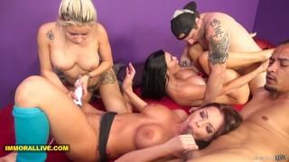 3 SEXIEST PORNSTARS EVER Jasmine Jae, Marsha May & Britney Amber TRIPLE TEAM 2 Lucky Guys - Part 2