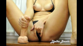 Hot MILF Fucks her pussy with a very big dick