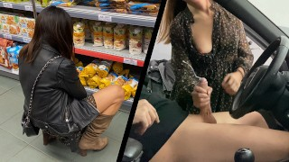 Naive Girl from the store Caught Me Masturbating In Public Parking And Helped Me out