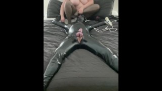 Riding my Latex Bondage Slaves Face with Estim and Footjob